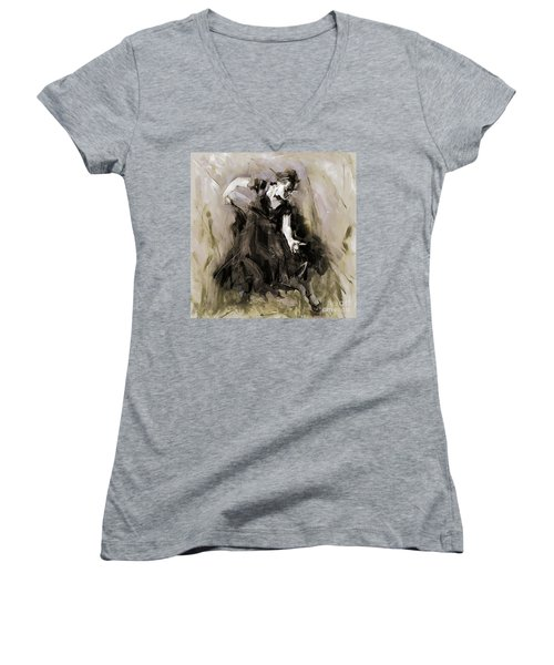 Women's V-Neck T-Shirt (Junior Cut) featuring the painting Spanish Dancer 3400i by Gull G