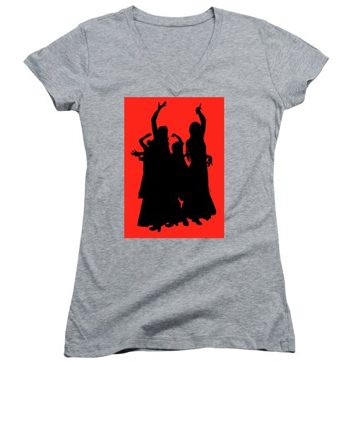 Women's V-Neck T-Shirt (Junior Cut) featuring the photograph Spanish Dancers by Jeff Burgess