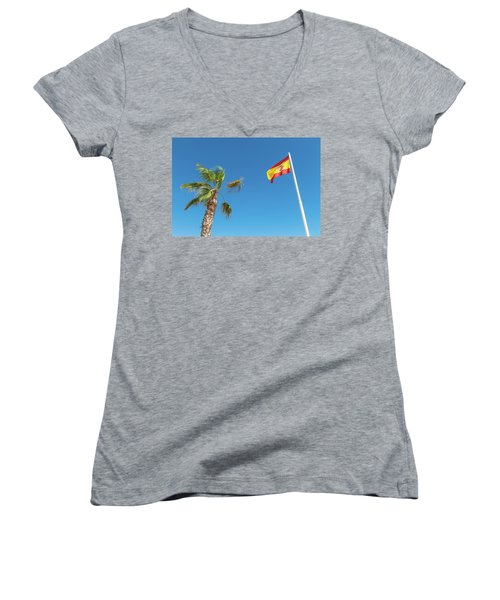 Spanish Flag And Palm Tree In The Blue Sky Women's V-Neck T-Shirt (Junior Cut) by GoodMood Art