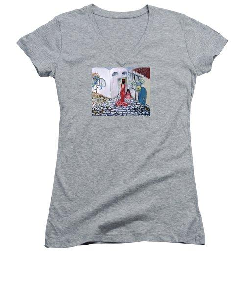 Spanish Style 2 Women's V-Neck T-Shirt (Junior Cut) by Evelina Popilian
