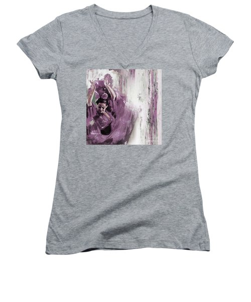 Women's V-Neck T-Shirt (Junior Cut) featuring the painting Spanish Woman Dance  by Gull G