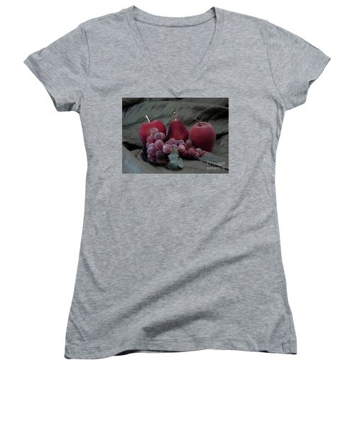 Women's V-Neck T-Shirt (Junior Cut) featuring the photograph Sparkeling Fruits by Sherry Hallemeier