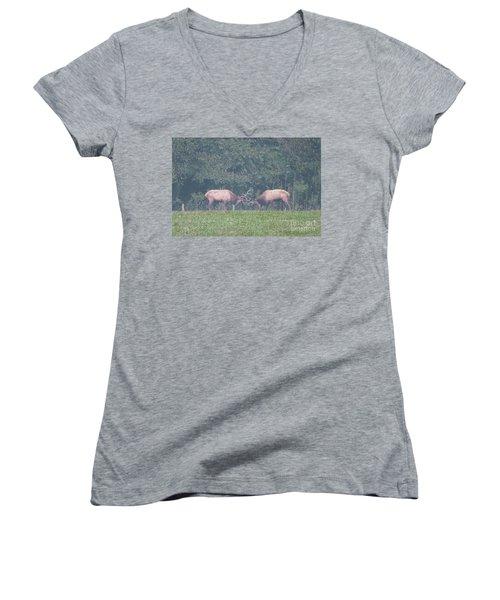 Sparking Elk On A Foggy Morning - 1957 Women's V-Neck T-Shirt
