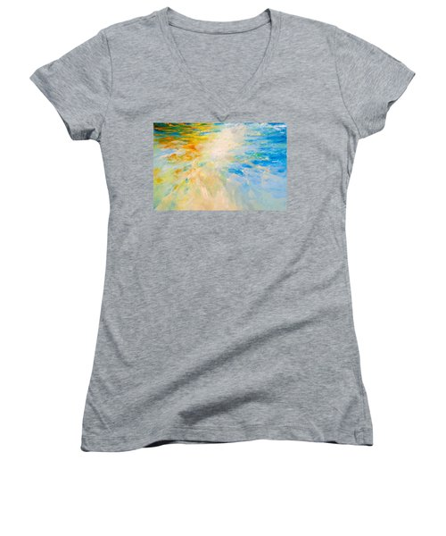 Women's V-Neck T-Shirt (Junior Cut) featuring the painting Sparkle And Flow by Dina Dargo