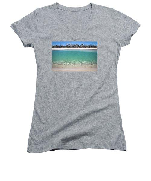 Sparkling Beach Lagoon On Deserted Beach Women's V-Neck
