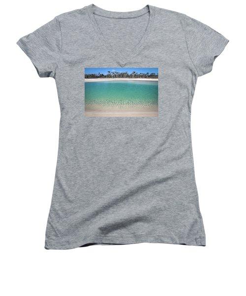 Sparkling Beach Lagoon On Deserted Beach Women's V-Neck (Athletic Fit)