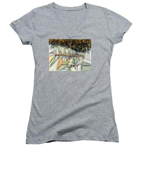 Women's V-Neck T-Shirt (Junior Cut) featuring the digital art Sparks by Ron Bissett