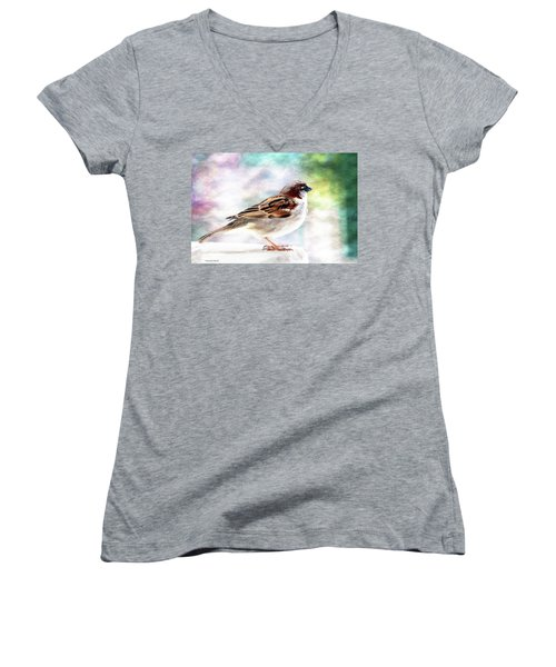 Sparrow Beauty 0004. Women's V-Neck T-Shirt (Junior Cut) by Kevin Chippindall