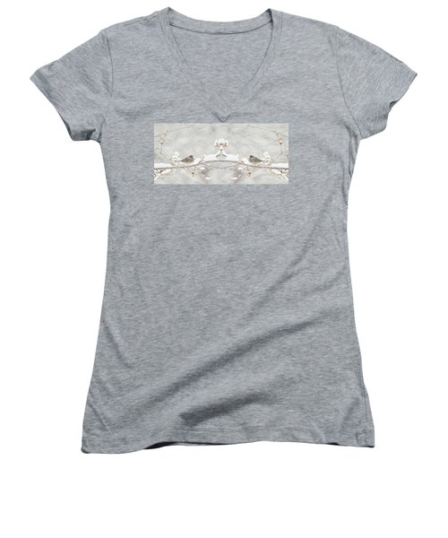 Women's V-Neck T-Shirt (Junior Cut) featuring the photograph Sparrow In The Cherry Tree by Lila Fisher-Wenzel