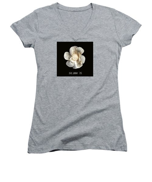 Special Magic Flower - For A Special Lady Women's V-Neck T-Shirt (Junior Cut) by Sir Josef - Social Critic -  Maha Art