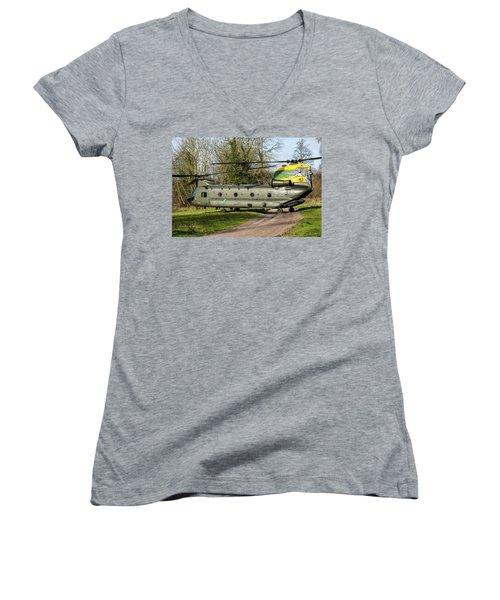 Special Tail Chinook Women's V-Neck T-Shirt (Junior Cut) by Ken Brannen