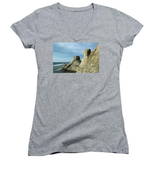 Spectacular Eroded Cliffs  Women's V-Neck T-Shirt (Junior Cut) by Kennerth and Birgitta Kullman