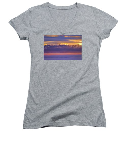 Spectacular Surnise Of The La Sal Mountains From Dead Horse Point State Park Women's V-Neck (Athletic Fit)