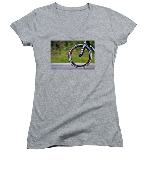 Women's V-Neck T-Shirt (Junior Cut) featuring the photograph Speed Of Life by Linda Unger