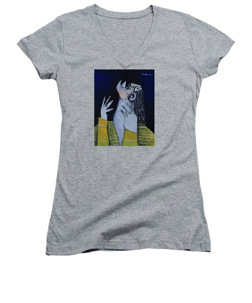 Speramus Woman In Yellow Shirt Thinking About Herself Women's V-Neck (Athletic Fit)