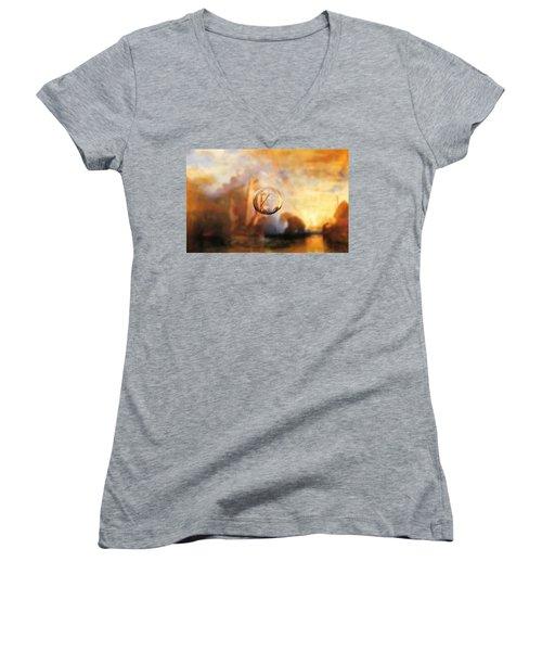 Sphere 11 Turner Women's V-Neck T-Shirt (Junior Cut) by David Bridburg