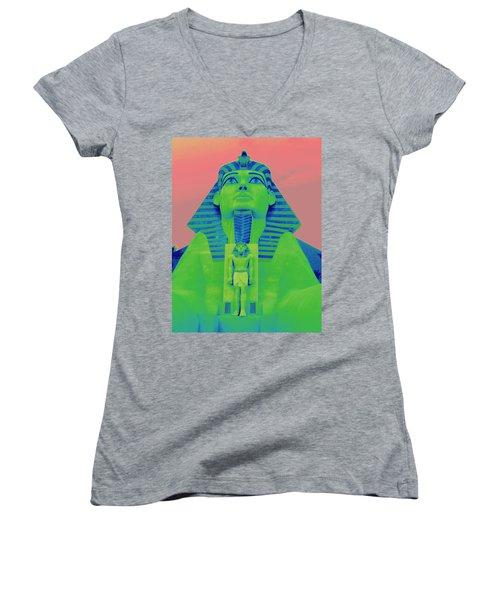 Sphinx And Pink Sky Women's V-Neck T-Shirt (Junior Cut) by Karen J Shine