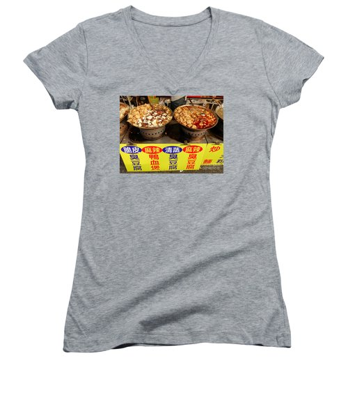 Women's V-Neck T-Shirt (Junior Cut) featuring the photograph Spicy And Herbal Hot Pot Food by Yali Shi