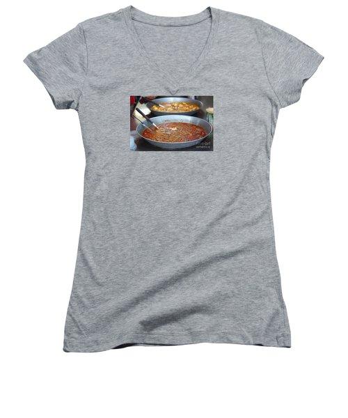 Spicy Duck Blood Soup Women's V-Neck T-Shirt (Junior Cut) by Yali Shi