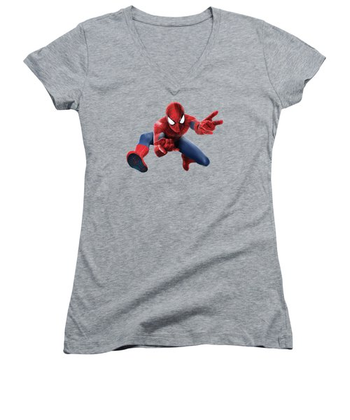 Women's V-Neck T-Shirt (Junior Cut) featuring the mixed media Spider Man Splash Super Hero Series by Movie Poster Prints