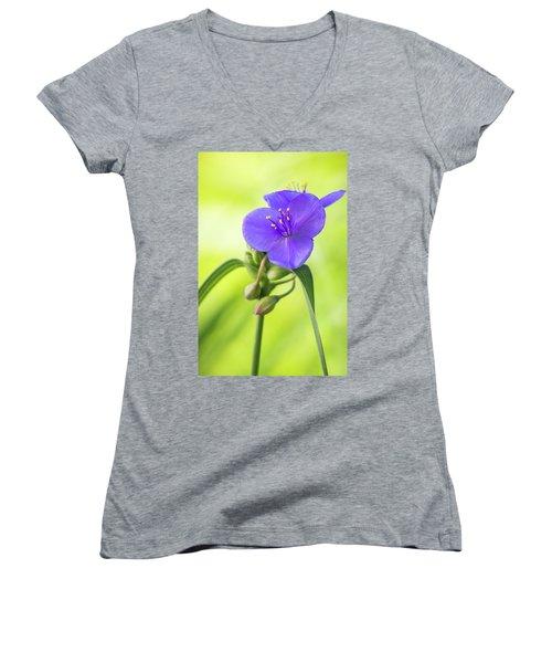 Spiderwort Wildflower Women's V-Neck