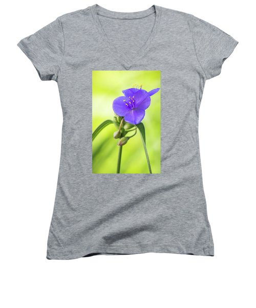 Spiderwort Wildflower Women's V-Neck T-Shirt