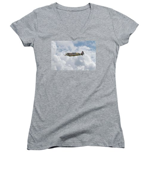 Women's V-Neck T-Shirt (Junior Cut) featuring the digital art   Spifire - Us Eagle Squadron by Pat Speirs