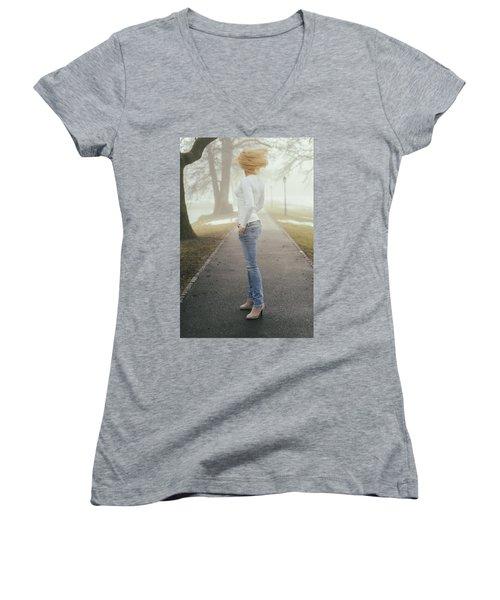 Spinning Women's V-Neck T-Shirt (Junior Cut) by Robert Krajnc