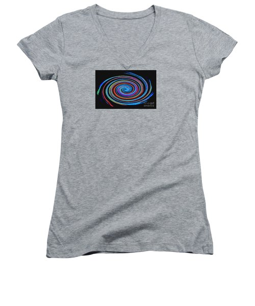 Women's V-Neck T-Shirt (Junior Cut) featuring the photograph Spiral Spectrum No. 1 - Modern Art by Merton Allen