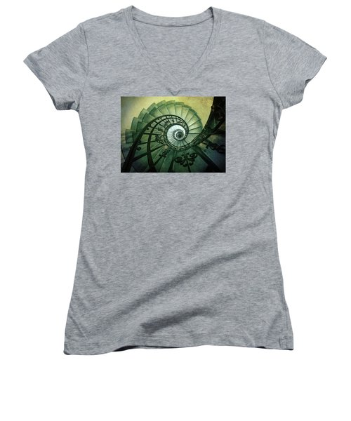 Women's V-Neck T-Shirt (Junior Cut) featuring the photograph Spiral Stairs In Green Tones by Jaroslaw Blaminsky