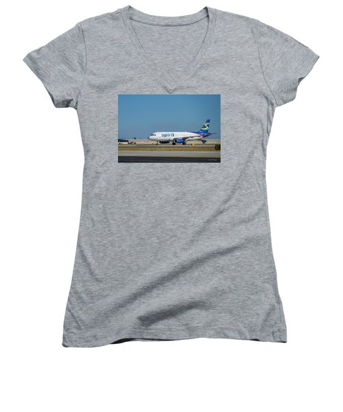 Women's V-Neck T-Shirt (Junior Cut) featuring the photograph Spirit Airlines Airbus A320 N608nk Airplane Art by Reid Callaway