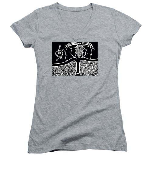 Women's V-Neck T-Shirt (Junior Cut) featuring the drawing Spirit II by Jamie Lynn