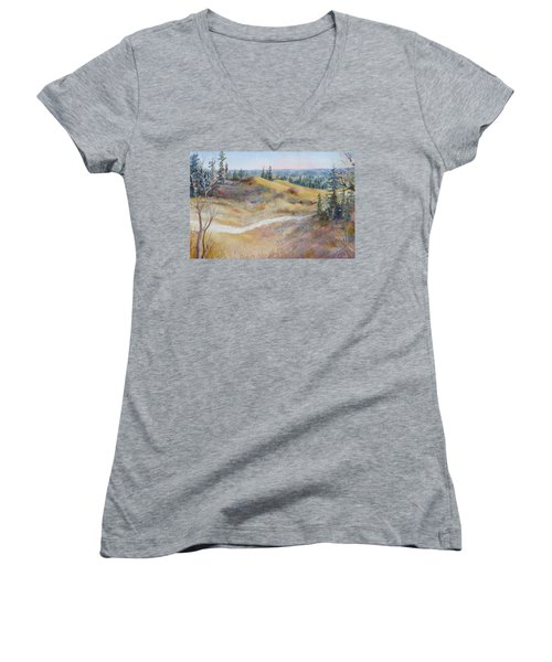 Spirit Sands Women's V-Neck T-Shirt (Junior Cut) by Ruth Kamenev