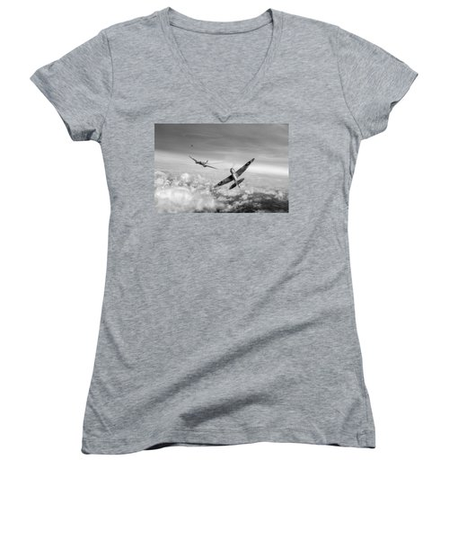 Women's V-Neck T-Shirt (Junior Cut) featuring the photograph Spitfire Attacking Heinkel Bomber Black And White Version by Gary Eason