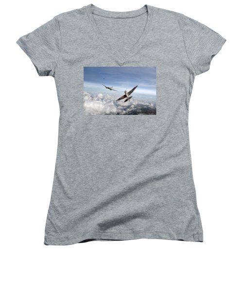 Spitfire Attacking Heinkel Bomber Women's V-Neck T-Shirt (Junior Cut) by Gary Eason