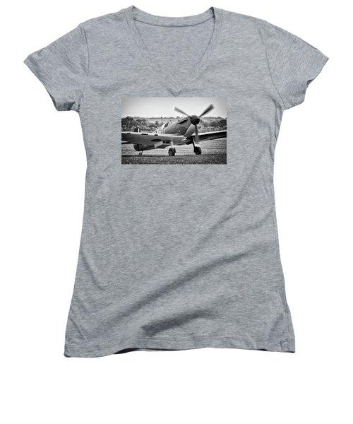 Spitfire Mk1 Women's V-Neck T-Shirt (Junior Cut) by Ian Merton