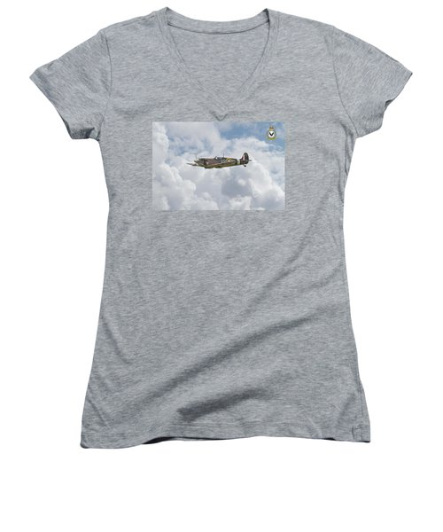 Women's V-Neck T-Shirt (Junior Cut) featuring the digital art  Spitfire - Us Eagle Squadron by Pat Speirs