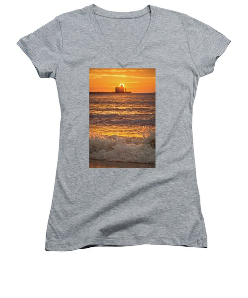 Women's V-Neck T-Shirt (Junior Cut) featuring the photograph Splash Of Light by Bill Pevlor