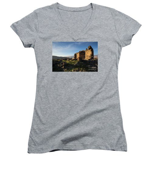 Splendid Ruins Of St. Grigor Church In Karashamb, Armenia Women's V-Neck T-Shirt (Junior Cut) by Gurgen Bakhshetsyan