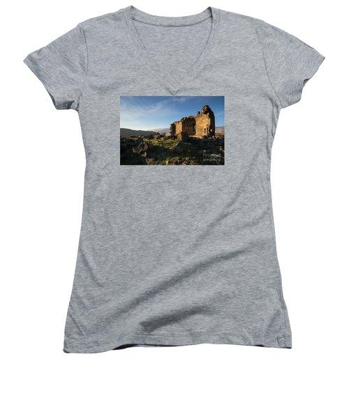 Splendid Ruins Of St. Grigor Church In Karashamb, Armenia Women's V-Neck T-Shirt