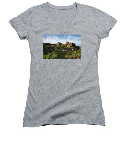 Splendid Ruins Of St. Sargis Monastery In Ushi, Armenia Women's V-Neck T-Shirt (Junior Cut) by Gurgen Bakhshetsyan