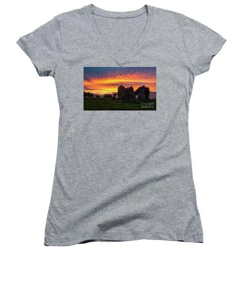 Splendid Ruins Of Tormak Church During Gorgeous Sunset, Armenia Women's V-Neck T-Shirt (Junior Cut) by Gurgen Bakhshetsyan