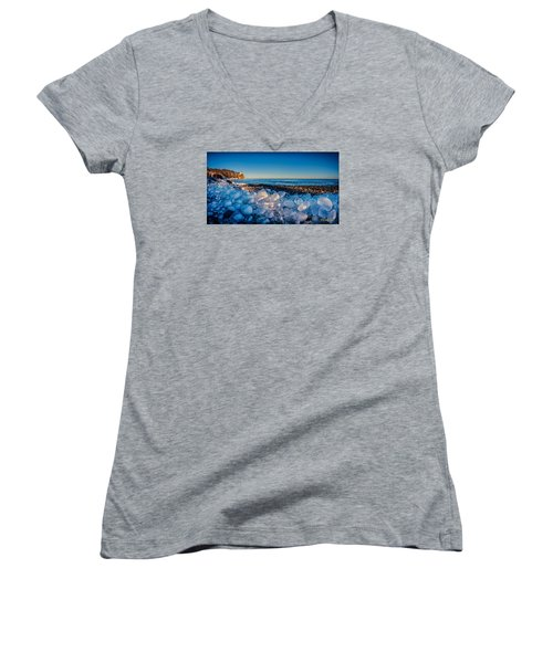 Split Rock Lighthouse With Ice Balls Women's V-Neck (Athletic Fit)