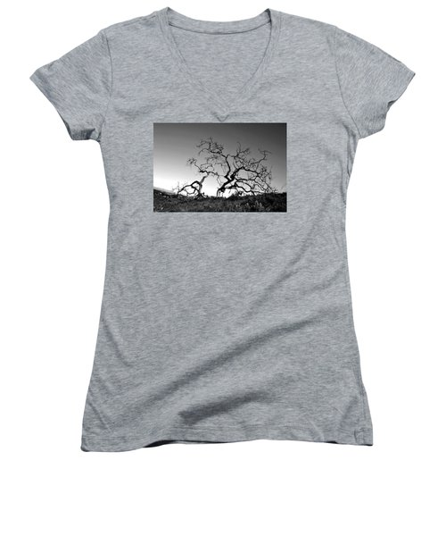 Split Single Tree On Hillside - Black And White Women's V-Neck (Athletic Fit)