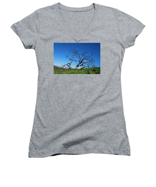 Split Single Tree On Hillside Women's V-Neck (Athletic Fit)