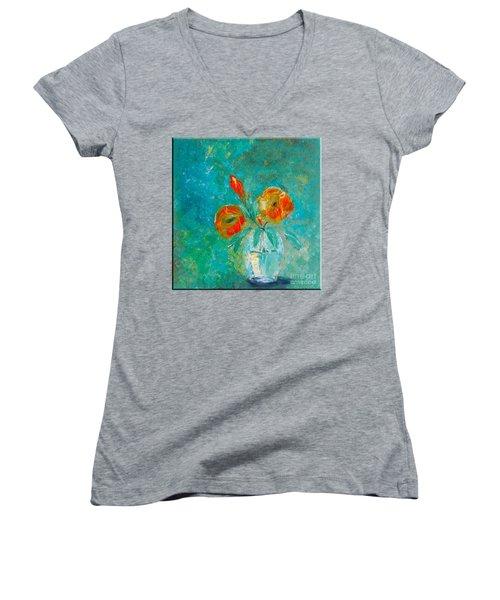 Palette Knife Floral Women's V-Neck T-Shirt (Junior Cut) by Lisa Kaiser