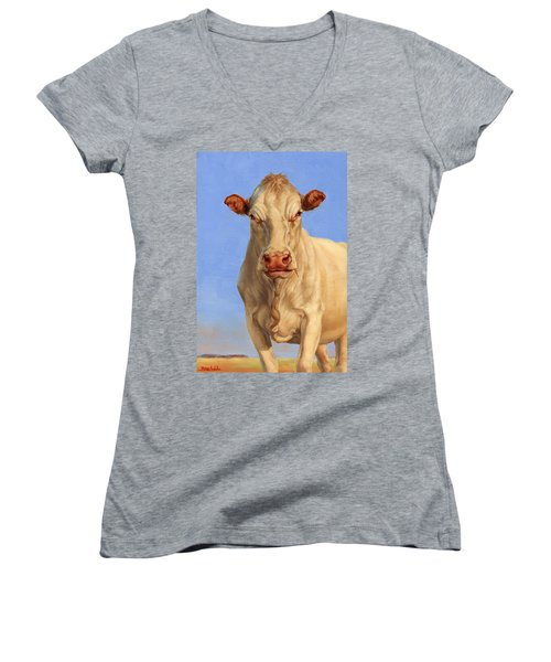 Women's V-Neck T-Shirt (Junior Cut) featuring the painting Spooky Cow by Margaret Stockdale