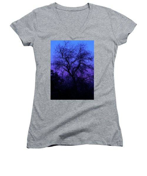 Spooky Tree Women's V-Neck T-Shirt (Junior Cut) by Paul Marto