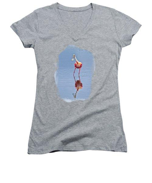 Spoonbill 1 Women's V-Neck T-Shirt (Junior Cut)