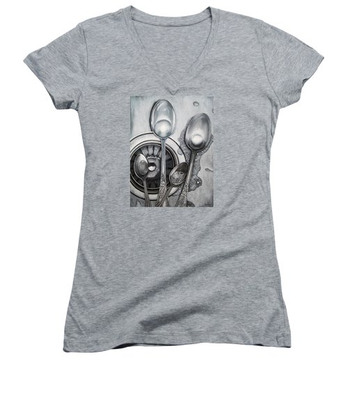 Spoons And Stainless Steel Realistic Still Life Painting Women's V-Neck T-Shirt (Junior Cut) by Linda Apple